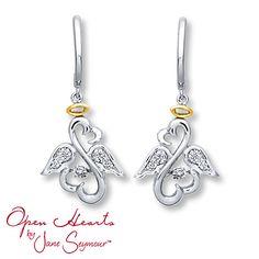 Bestmomeversweeps Open Hearts Rhythm Diamond Earrings Sterling Silver 10k Gold Jane Seymour Jewelry