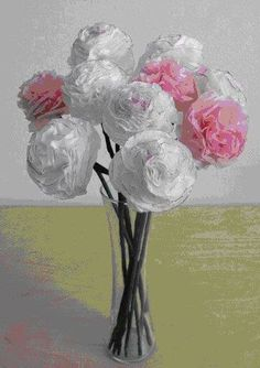 flowers of paper napkins tutorial - crafts ideas - crafts for kids