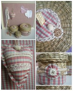 fabric and lace hearts