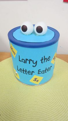 Larry the Letter Eater - Make alphabet learning fun - great for Kindergarten. Have students find small objects in the classroom that start with whatever letter you're learning about that day/week. Then they can feed it to Larry the Letter Eater. (All you need to make your own: two ping pong balls, an old coffee can with lid, paper and stickers to cover it). - by Ellie Learning Activities, Teaching Resources, Activities For Kids, Crafts For Kids, Classroom Crafts, Classroom Ideas, Early Learning, Fun Learning, Student Teaching