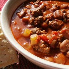 Football Sunday Chili Recipe - recipetips.com - This chili recipe is perfect for chilly fall Sunday football games.  It's also great for simmering in the slow cooker and will soon become one of your favorite football party recipes.