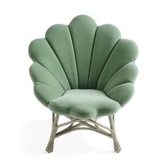 The Upholstered Venus Chair - seafoam green mermaid clamshell chair