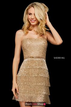 Hill 53245 Sparkling Tiered Fringe Short Dress Style 53245 from Sherri Hill is a sparkling beaded cocktail dress with spaghetti straps, tiered fringe skirt, and an open lace up back. Sherri Hill Prom Dresses Short, Hoco Dresses, Evening Dresses, Formal Dresses, Sherri Hill Dress, Quinceanera Dresses, Gold Homecoming Dresses, Club Dresses, Vestido Strapless