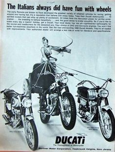 Images of Classic Ducati Motorcycles of the Moto Ducati, Ducati Motorcycles, Ducati Scrambler, Vintage Bikes, Vintage Ads, Vintage Posters, Vintage Photos, Ducati Models, Easy Rider