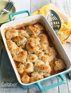 A mouthwatering homemade peach cobbler using fresh peaches and add a scoop of vanilla ice cream for the perfect summer dessert.