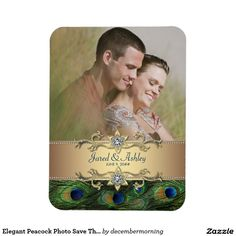Shop Elegant Peacock Photo Save The Date Magnets created by decembermorning. Unique Save The Dates, Save The Date Photos, Wedding Save The Dates, Save The Date Cards, Peacock Wedding Invitations, Save The Date Invitations, Wedding Invitation Cards, Wedding Cards, Jared And Ashley