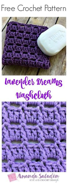 Create a simple yet elegant washcloth for your kitchen or bath with this easy pattern for the Lavender Dreams Washcloth by Amanda Saladin. - Washcloth - Ideas of Washcloth Crochet Gifts, Cute Crochet, Beautiful Crochet, Easy Crochet, Crochet Baby, Knit Crochet, Crochet Dishcloths, Washcloth Crochet, Crochet Kitchen