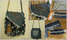 How to make feather handbag from old jeans ~ Crazzy Craft