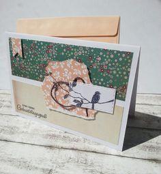 Glückwunschkarten - Geburtstagskarte Vögelchen & Blumen - ein Designerstück von POMMPLA bei DaWanda