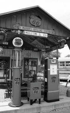 Shop for route 66 art from Frank Romeo. All route 66 artwork ships within 48 hours and includes a money-back guarantee. Choose your favorite route 66 designs and purchase them as wall art, home decor, phone cases, tote bags, and more! Old Gas Pumps, Vintage Gas Pumps, Drive In, Missouri, Pompe A Essence, Route 66 Road Trip, Historic Route 66, Old Route 66, Old Country Stores