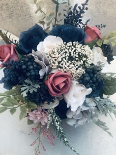 Who doesn't love a navy blue and pink bouquet? Check out this beauty on our Etsy shop today custom orders are welcomed Navy Wedding Flowers, Prom Flowers, Wedding Flower Arrangements, Flower Bouquet Wedding, Wedding Centerpieces, Floral Wedding, Wedding Colors, Floral Arrangements, Wedding Decorations