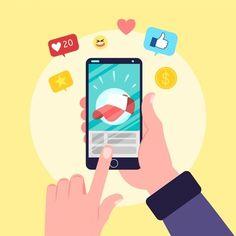 Pessoa, segurando, telefone, com, apps V. Hand Holding Phone, Nurse Art, Apps, Hold On, Family Guy, Illustration, Vector Freepik, Smartphone, Android