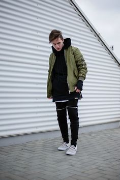Army green bomber jacket black joggers street style | Follow @FILET. for more street style #filetlondon