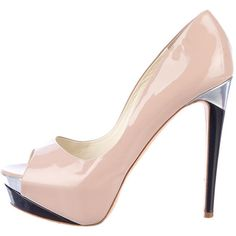 Pink Rupert Sanderson patent leather peep-toe platform pumps with metallic silver and black covered heel. Includes dust bag.