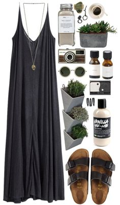 Therapy par shinysmile88 utilisant Laura Ashley H M robes longue, $42 / Birkenstock sandals / Gold jewellery / Chunky jewellery / Linda Farrow lunettes de soleil grand format / Hair accessory, $2.99 /...