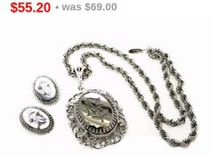 Whiting & Davis Necklace and Earrings Set Lilies by thejewelseeker