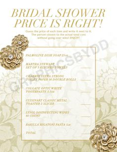 "Gold Bridal Shower ""Price Is Right"" Printable Game #bridalshowergame #printablegame #priceisrightgame #etsy"
