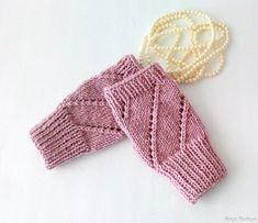Hand Knit Fingerless Gloves in Pinkish Powder  by naryaboutique
