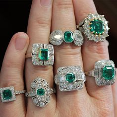 Who is showing off their Emerald today?  #emerald #showmeyourrings #ringstack #ringstagram #emeralds (at Lang Antique & Estate Jewelry)