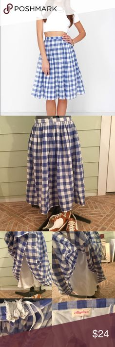 """⌛️Lulu's First Picnic white & blue Gingham midi, M Lulu's blue and white (""""ivory"""") and white checkered / Gingham pleated midi skirt, size medium. 100% cotton. Fits around true waist, True to size. Only worn once!  Zipper in back. Double lined. No viable signs of wear! Brand: Alythea.⌛️🍃LIMITED Time listing!! Ends This weekend! Lulu's Skirts Midi"""