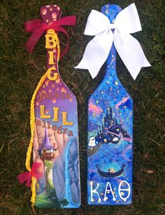 my big and my paddles :) i made the one on the left, and @Jackie Bright made the one on the right! the tangled theme was coincidental!