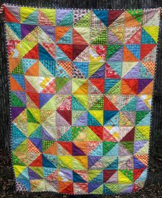 My first completed value quilt: didn't want to make it too pattern-y. Really pleased with how it turned out, and I like how cheerful it is.