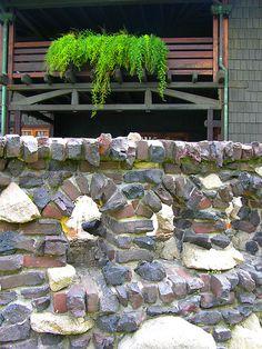 A clinker brick wall in the back of the Gamble House in Pasadena. Nobody did clinker bricks like those Greene brothers.
