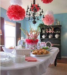 Girl baby shower! And I know how to make those tissue balls! Can also be redone for a boy shower or neutral...so simple yet classic.