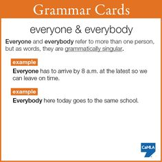 "Here's a Grammar Card about indefinite pronouns ""everyone"" and ""everybody"". These words are interchangeable--choose which sounds the best to you. Remember that most of the time these words are treated as grammatically singular. For example:  ""Everyone are hungry"" is incorrect. The correct sentence is ""Everyone is hungry""."