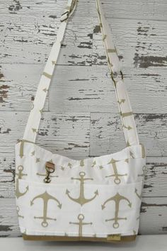 Gold anchors, slouchy tote