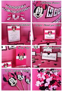 Minnie Mouse ideas for a party? Minnie Mouse 1st Birthday, Minnie Mouse Theme, Mickey Mouse Parties, Mickey Party, Disney Birthday, 3rd Birthday Parties, Pink Minnie, 50th Birthday, Birthday Ideas