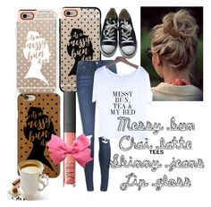 """Messy bun"" by miastar101 ❤ liked on Polyvore featuring Casetify, Cheap Monday, NARS Cosmetics and Converse"