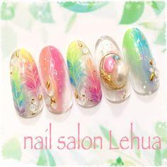 パステルフェザーネイル♡定額11,500円プラン #春 #夏 #海 #リゾート #ハンド #グラデーション #アニマル #フェザー #エスニック #パステル #カラフル #Lehua(レフア)大木萌子 #ネイルブック Creative Nail Designs, Creative Nails, Nail Art Designs, Manicure Y Pedicure, Shellac Nails, Sexy Nails, Cute Nails, Nail Art Wheel, Japan Nail