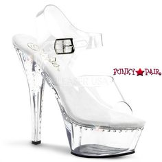 41fd60b7ae Kiss-208LS, 6 Inch high Heel with 1.75 Inch Platform Clear Ankle Strap with
