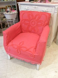 Love slipcovers made from vintage chenille bedspreads.