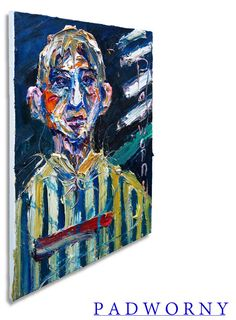 Oil Painting 20 by 16 by 3/4 in. / Original oil painting folk art outsider nyc portrait museum Chelsea NY New York City thick contemporary