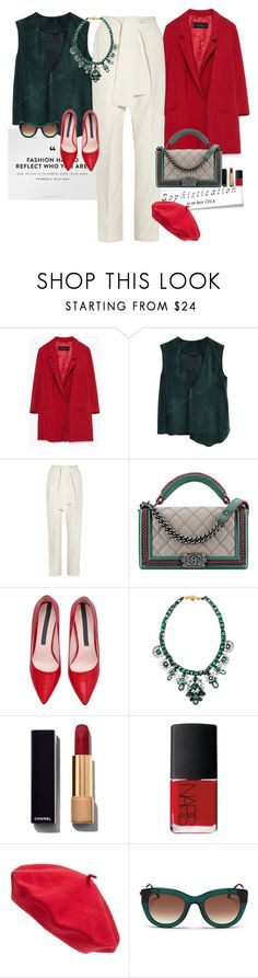 """No black"" by claire86-c ❤ liked on Polyvore featuring Zara, TIBI, Chloé, Chanel, SHOUROUK, NARS Cosmetics, Parkhurst, Thierry Lasry, women's clothing and women's fashion"