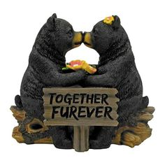 Love is in the air! Two kissing black bears share a log nose to nose over a sign that says Together Furever. Made from hand painted highly detailed poly resin.