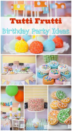 Gorgeous tutti frutti dessert table, perfect for a girl birthday, boy birthday, or baby shower! See more party ideas at CatchMyParty.com. #tuttifrutti