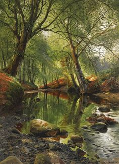 A Woodland Stream by Peder Mork Monsted - He was born in 1859 in Balle near Ganaa, eastern Denmark. He was a Danish realist painter, his landscapes were renowned for the clarity of light common to the artists of that day and age.