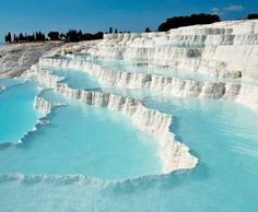 Discover the city of Pamukkale on this tour from Izmir . See Hierapolis Ancient City and the Travertine Terraces of Pamukkale with your small-group of no more than Enjoy a delicious Turkish lunch along with round-trip hotel transportation Pamukkale, Wonderful Places, Beautiful Places, Yellowstone Nationalpark, Thermal Pool, World Geography, Destination Voyage, Shore Excursions, Vacation Trips