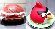 ANGRY BIRD CAKE - How to make an easy and funny Bird Cake. Tutorial by C...