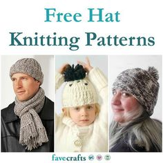 27 Free Hat Knitting Patterns Easy Knit Hat, Loom Knit Hat, Knitted Hats Kids, Loom Knitting, Free Knitting, Knit Hats, Knitted Gloves, Knitted Bags, Knitting Stitches