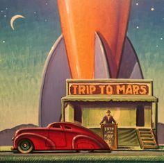 """Mars"",   Robert LaDuke Painting. Original, 6""x 6"" #Realism"