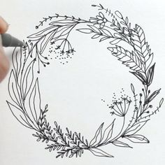 I managed to squeeze in some time to shoot a quick video after all hehe :) here's an exclusive clip of how I imagine and plan – DEMO Wreath Drawing, Bullet Journal Inspiration, Doodle Art, Embroidery Patterns, Doodles, Artsy, Stencil, Sketches, Illustrations