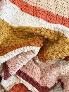 Baby Girl Crochet Blanket, Baby Blanket Size, Crochet Girls, Crochet Blanket Patterns, Crochet Blankets, Baby Blankets, Bobble Stitch Crochet Blanket, Crochet Fall, Knit Crochet
