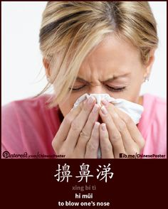 action - 擤鼻涕 - xǐng bí tì - hỉ mũi - to blow one's nose