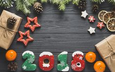 Download wallpapers New Year, 2018, cookies, Christmas tree, tangerines, Happy New Year