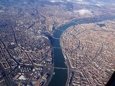 Budapest from the air, Buda on the left, Pest on the rights and the winding Danube in the middle!