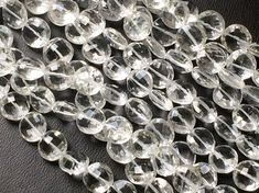 Crystal Quartz Faceted Coin Beads Crystal Quartz by gemsforjewels